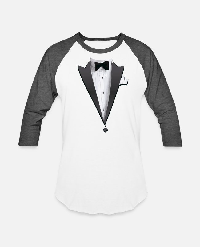 Linux T-Shirts - Tuxedo Jacket Costume T-shirt - Unisex Baseball T-Shirt white/charcoal