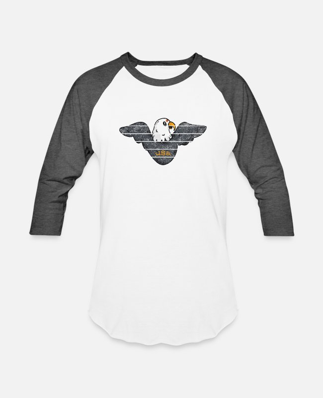 Usa T-Shirts - usa eagle ok - Unisex Baseball T-Shirt white/charcoal