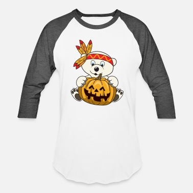 Indian Bear Halloween Indian Polar bear Pumpkin - Unisex Baseball T-Shirt