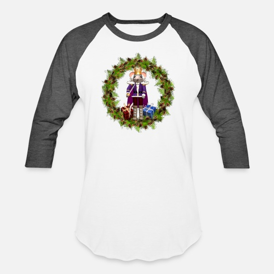Kids T-Shirts - Mouse King Christmas Wreath Men's Heavyweight Prem - Unisex Baseball T-Shirt white/charcoal