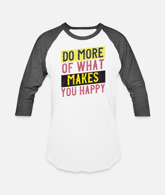 Typo Collection T-Shirts - happy vintage style quote - Unisex Baseball T-Shirt white/charcoal