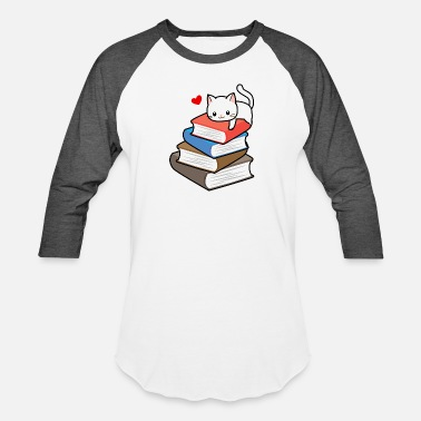 Awesome Book Reader Cat Book Nerd Reader On Books Cute Geek Funny - Baseball T-Shirt