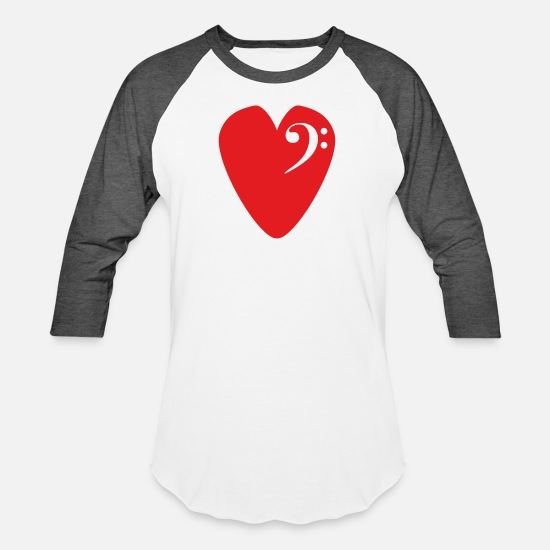Play T-Shirts - Bass Celf In Heart-Shaped Pick For Bassist pk - Unisex Baseball T-Shirt white/charcoal