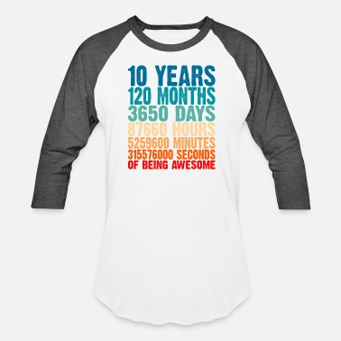 Year 10 Years Of Being Awesome Gifts 10 Years Old 10 Bi - Unisex Baseball T-Shirt