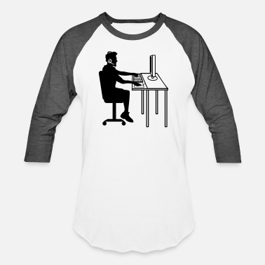 Work Pc work computer pc sit keyboard mouse screen desk de - Unisex Baseball T-Shirt