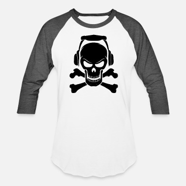 Discjockey SKULL DJ music headphone festival gift idea - Baseball T-Shirt