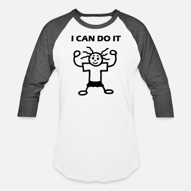 Ms Dos I can do it - Power girl - Unisex Baseball T-Shirt