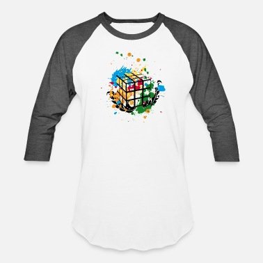 Cube Rubik's Cube Colourful Splatters - Unisex Baseball T-Shirt