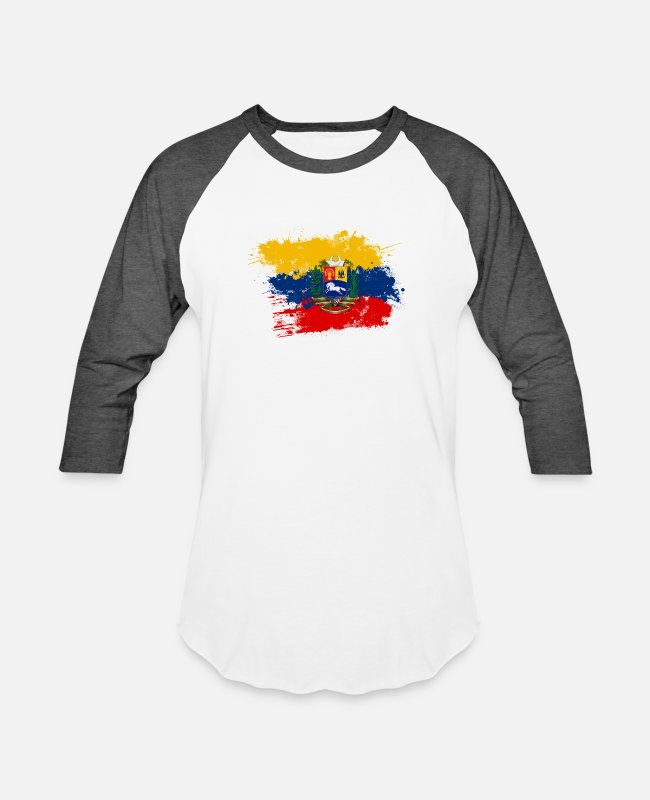 Venezuela T-Shirts - Flag of Venezuela and coat of arms - Unisex Baseball T-Shirt white/charcoal