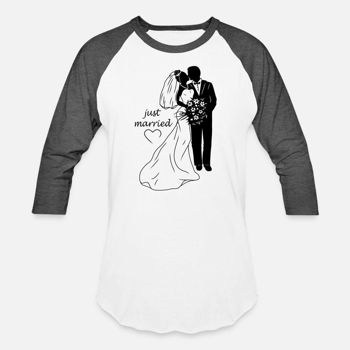 be79c449f5 Bridal couple silhouette - just married Unisex Baseball T-Shirt ...