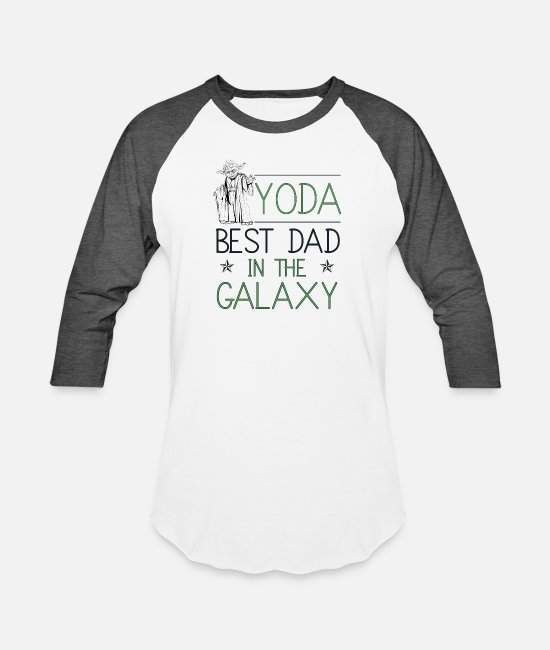 Daddy Of The Year T-Shirts - Yoda Best Dad In the Galaxy - Unisex Baseball T-Shirt white/charcoal