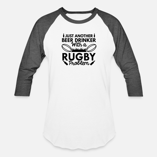 Game T-Shirts - Beer Drinker Rugby - Unisex Baseball T-Shirt white/charcoal