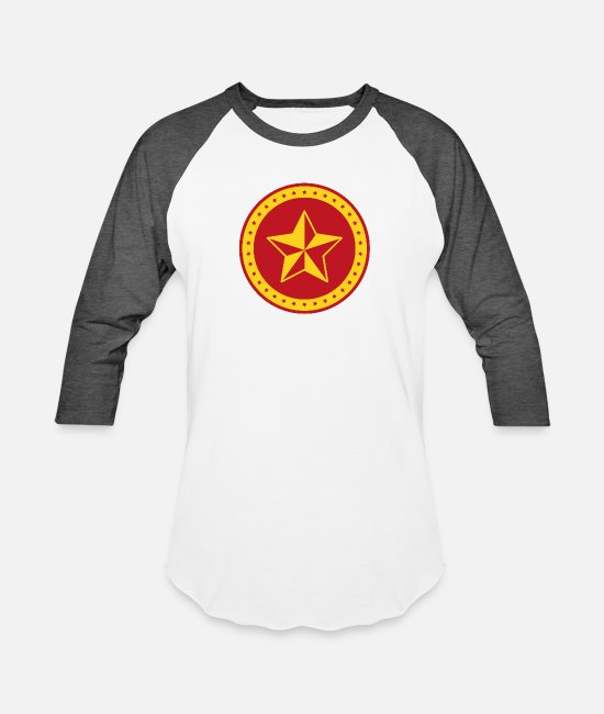 Hammer T-Shirts - Circle Communist Red Star - Unisex Baseball T-Shirt white/charcoal