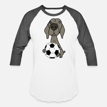 Funky Dog Cool Funky Weimaraner Dog Playing Soccer - Baseball T-Shirt