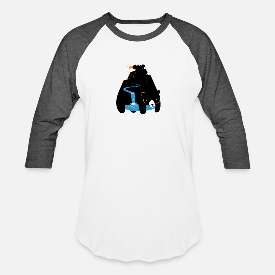 Mountain T-Shirts - The Mountain Bear Illustrator Funny Animal - Unisex Baseball T-Shirt white/charcoal