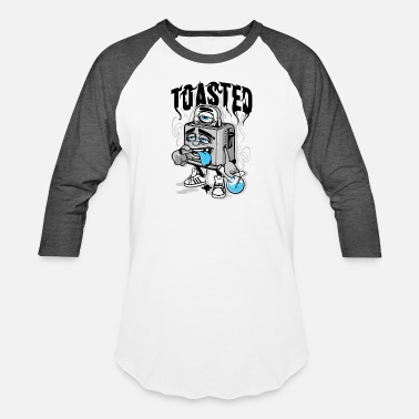 Cartoon Toast Toasted - Baseball T-Shirt