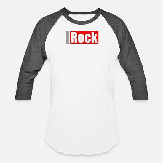 Pop Art T-Shirts - I Rock And Roll - Unisex Baseball T-Shirt white/charcoal