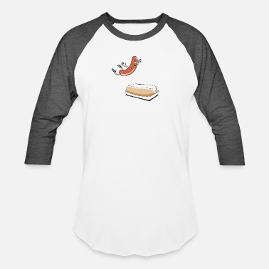 Hot Dog Happy Hot Dog - Unisex Baseball T-Shirt