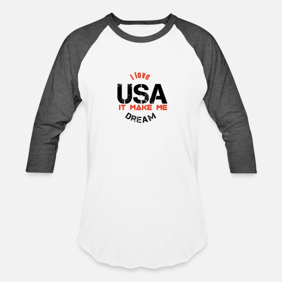 Usa T-Shirts - The lovely USA - Unisex Baseball T-Shirt white/charcoal