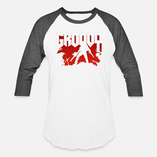 Groovy T-Shirts - Doomy and Groovy - Unisex Baseball T-Shirt white/charcoal