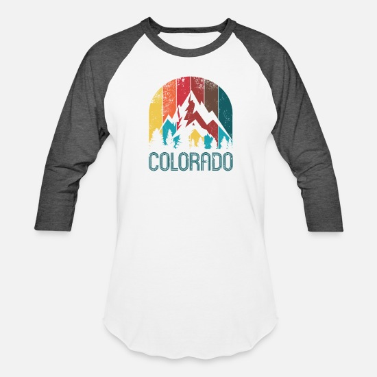 Colorado T-Shirts - Retro Colorado Design for Men Women and Kids - Unisex Baseball T-Shirt white/charcoal