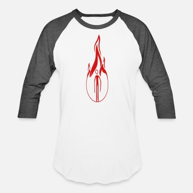 Flaming hot burn fire flames burn black alien man long arm - Baseball T-Shirt
