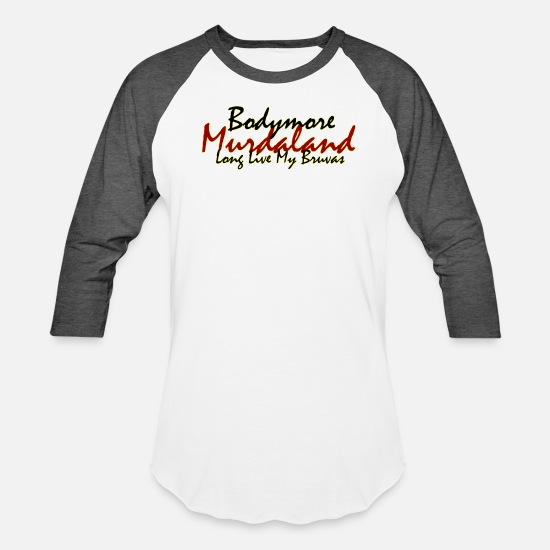 Murderland T-Shirts - Bodymore Design 1 - Unisex Baseball T-Shirt white/charcoal