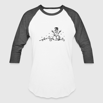 Winter. Little Snowmen with snowflakes. - Baseball T-Shirt