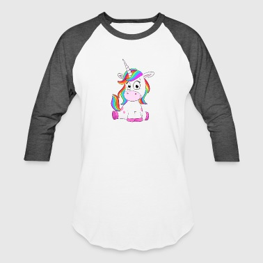 Cute Unicorn sitting - Baseball T-Shirt