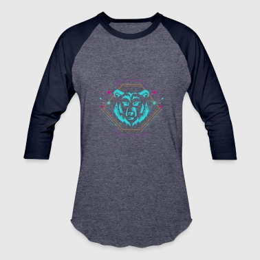 Neon Techno Geometric Bear - Party EDM Techno Neon Gift - Baseball T-Shirt
