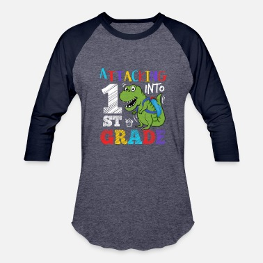 Tyra Dinosaur Attacking Into 1st Grade - Baseball T-Shirt