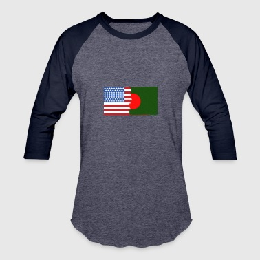 Flag Half Half Bangladesh Half USA Flags - Baseball T-Shirt