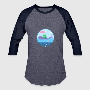 Falling Whale Monster with whale - Baseball T-Shirt