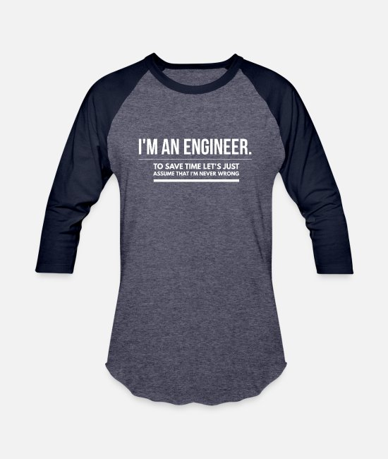 Mechanic T-Shirts - Engineer t-shirt/ engineer birthday/ graduation - Unisex Baseball T-Shirt heather blue/navy