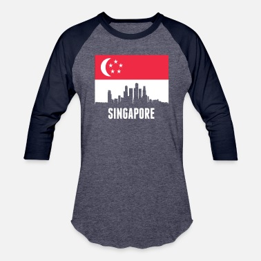 Singapore Singaporean Flag Singapore Skyline - Baseball T-Shirt
