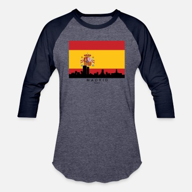 Spanish Madrid Madrid Spain Skyline Spanish Flag - Baseball T-Shirt