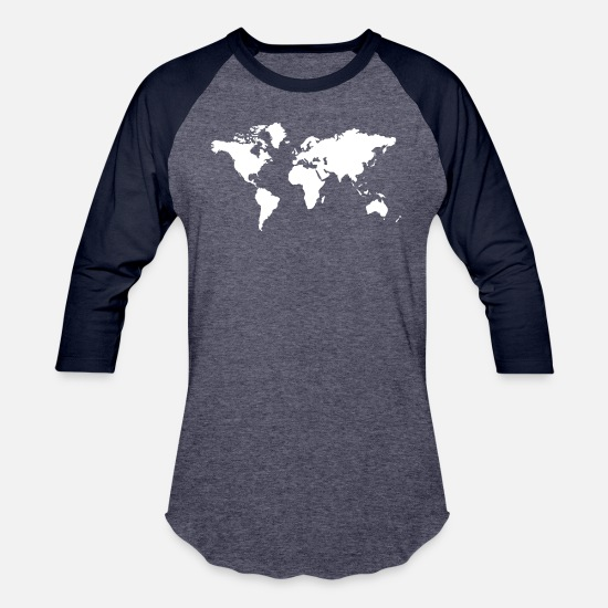 Geography T-Shirts - World White - Unisex Baseball T-Shirt heather blue/navy
