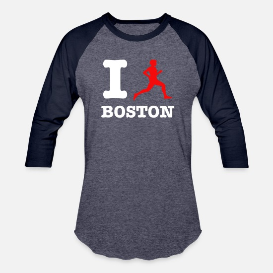Runner T-Shirts - boston design - Unisex Baseball T-Shirt heather blue/navy