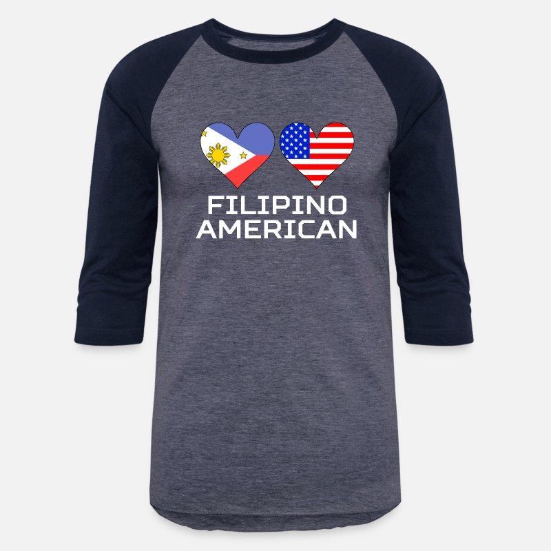 d066df67c15 Filipino T-Shirts - Filipino American Hearts - Unisex Baseball T-Shirt  heather blue