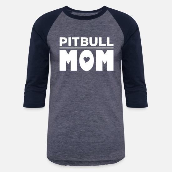 ccc21d50 Mom T-Shirts - Pitbull Mom - Unisex Baseball T-Shirt heather blue/