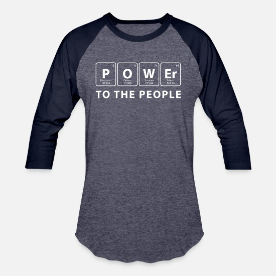 People T-Shirts - Power to the People | white - Unisex Baseball T-Shirt heather blue/navy