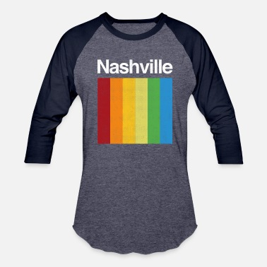 Nashville Tennessee Retro Rainbow - Unisex Baseball T-Shirt