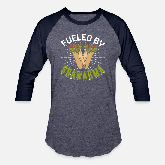 Memory T-Shirts - Fueled By Shawarma - Unisex Baseball T-Shirt heather blue/navy