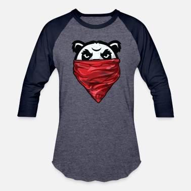 Panda Weight Lifting Panda Gangster Panda Bear wearing a Red Bandanna - Baseball T-Shirt