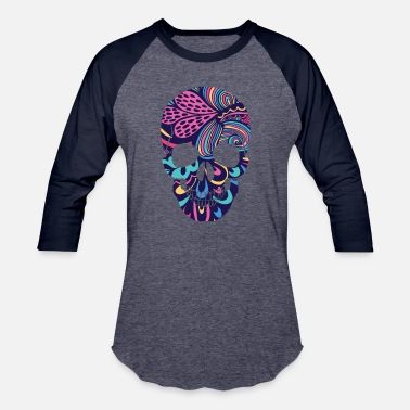 Mexican Sugar Skull Calavera Sugar Skull Dark Flowers Mexican Holiday - Baseball T-Shirt