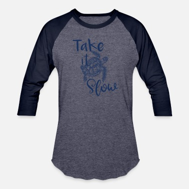 Blue Turtle Turtle Take it Slow Blue Turtle - Unisex Baseball T-Shirt