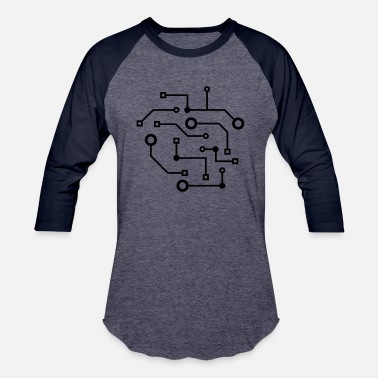 Diagram pattern logo cool circuit wire data microchip cycl - Baseball T-Shirt