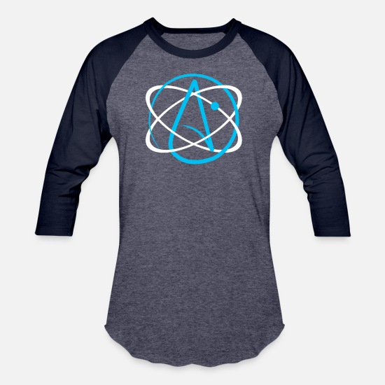 Charles Darwin T-Shirts - Atheist Atom Logo - Unisex Baseball T-Shirt heather blue/navy