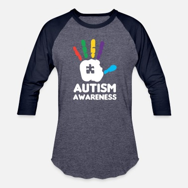 Handprint Autism Awareness Hand Print Colorful Puzzle - Baseball T-Shirt