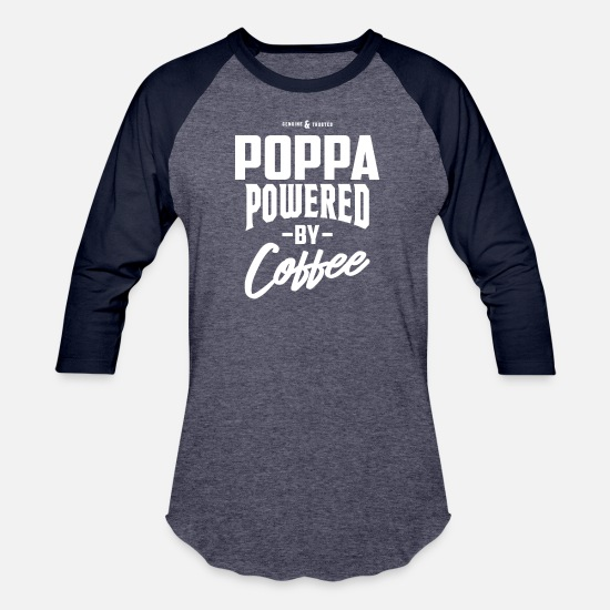 Grandad T-Shirts - Coffee Poppa - Unisex Baseball T-Shirt heather blue/navy